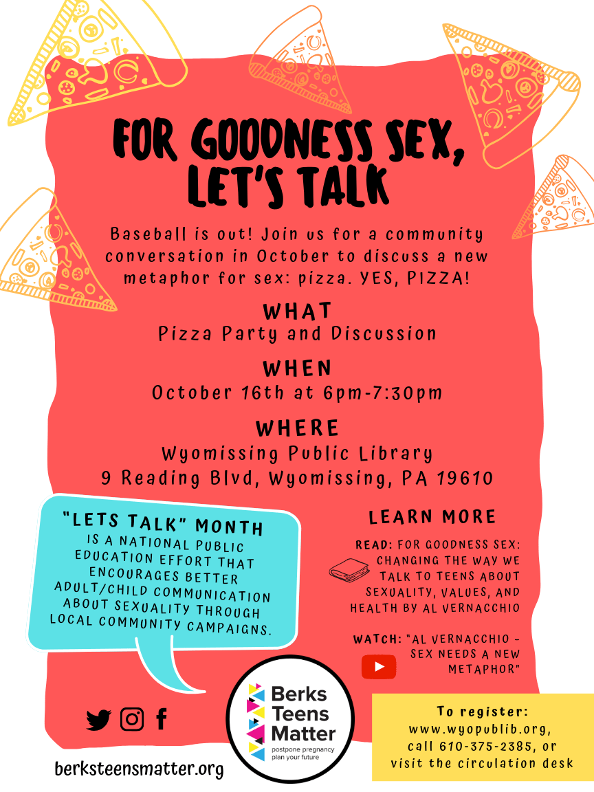"""""""For Goodness Sex, Let's Talk"""" at Wyomissing LIbrary"""